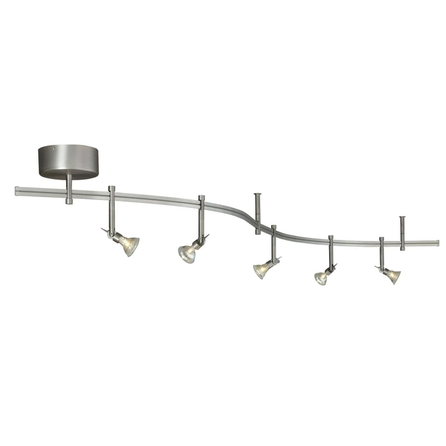 tiella 5-Light Satin Nickel Decorative Flexible Track Light with Glass