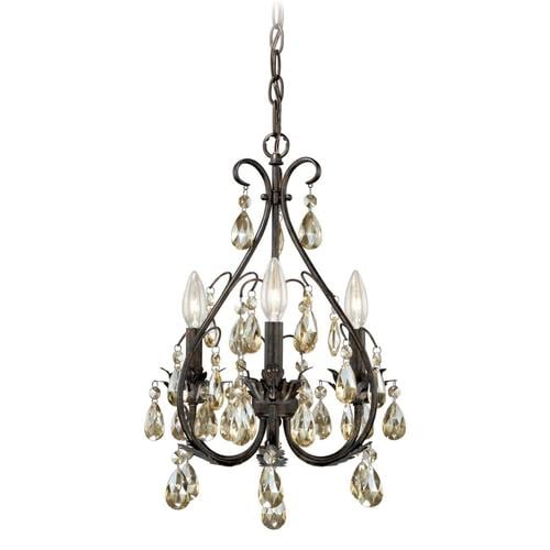 Cascadia Mini Chandelier 3 Light Gold Flake Bronze Vintage Candle At Lowes
