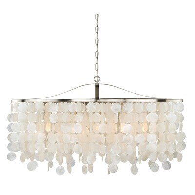 Elsa 5l Nickel Coastal Capiz S Linear Chandelier Island Pendant Light Fixture