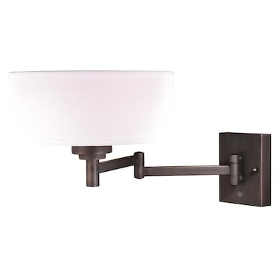 Chapeau Plug In Bronze Drum Motion Sensor Swing Arm Wall Lamp Cream Linen Shade