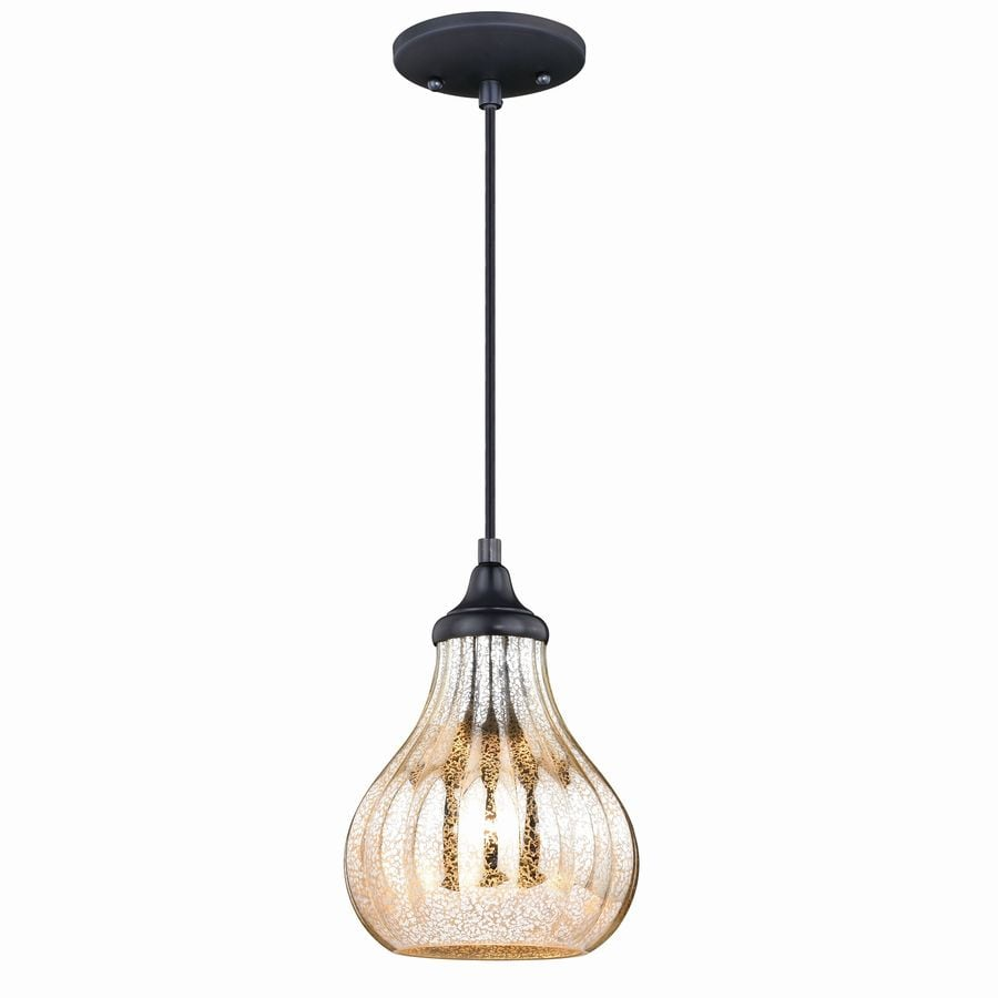 Cascadia Elby Dark Bronze Traditional Tinted Glass Teardrop Mini Pendant Light In The Pendant Lighting Department At Lowes Com