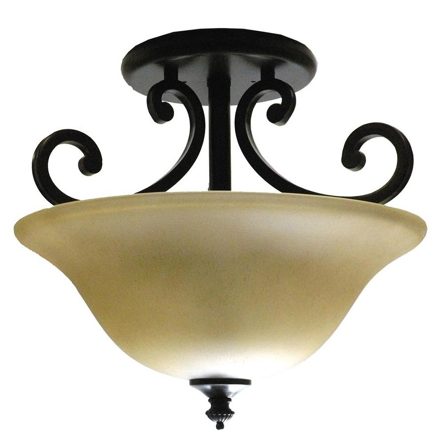Khaleesi 16-in W Golden Bronze Tea-Stained Glass Semi-Flush Mount Light