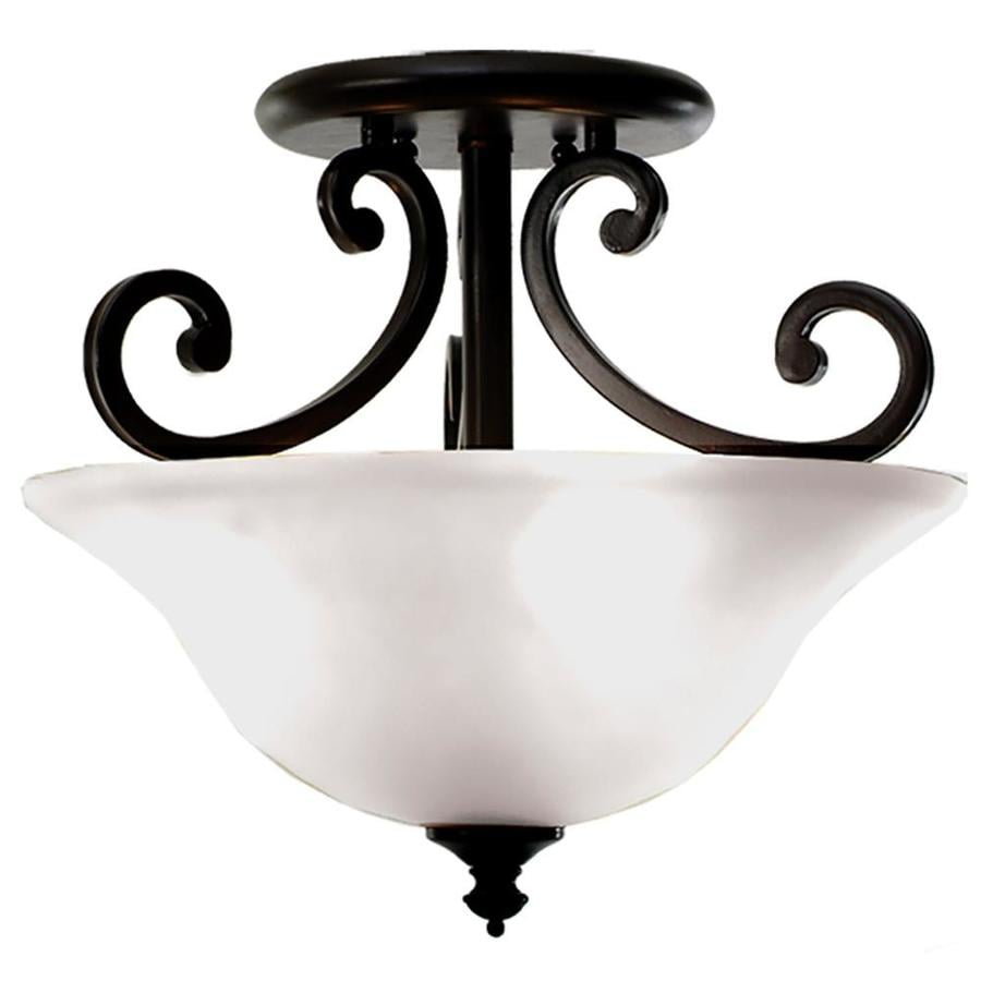 Khaleesi 16-in W English Bronze Frosted Glass Semi-Flush Mount Light