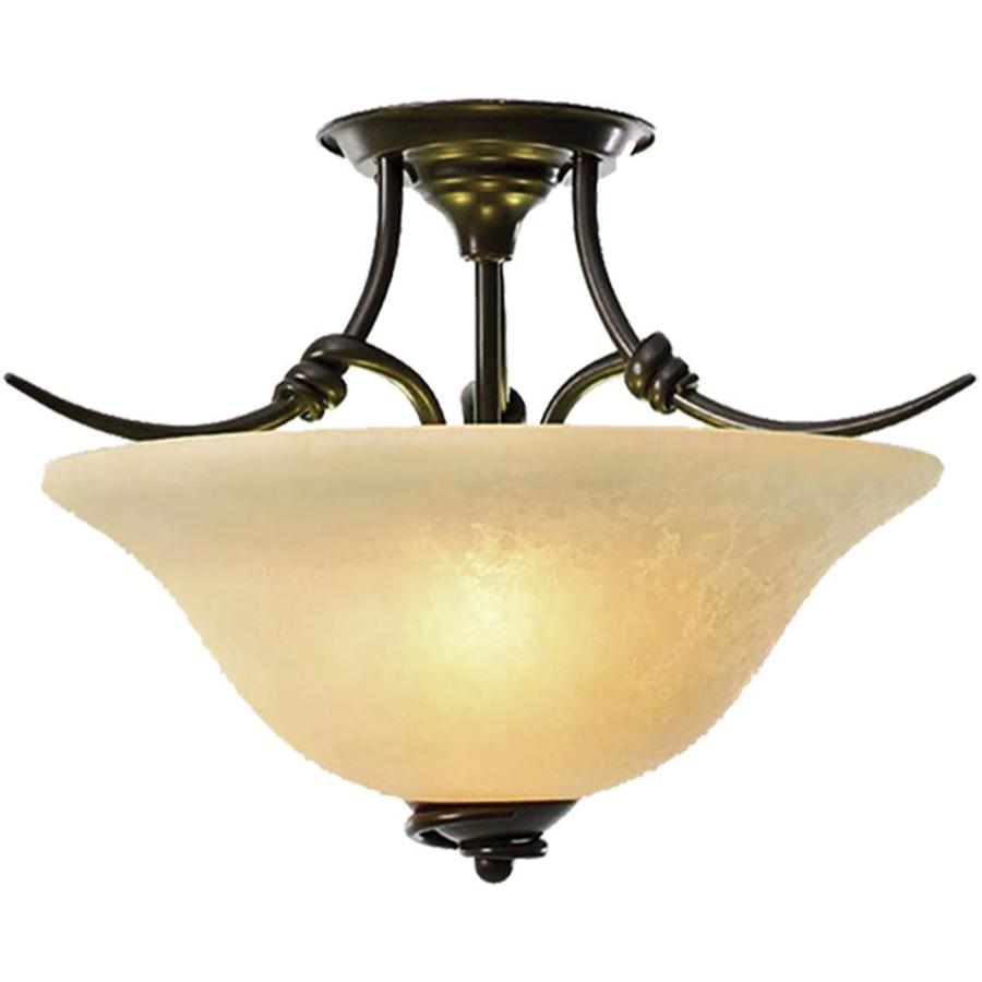 Khaleesi 18-in W Golden Bronze Tea-Stained Glass Semi-Flush Mount Light