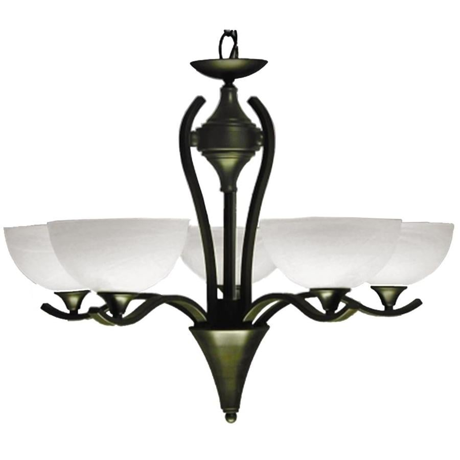 Khaleesi 28-in 5-Light Satin Chrome Alabaster Glass Candle Chandelier