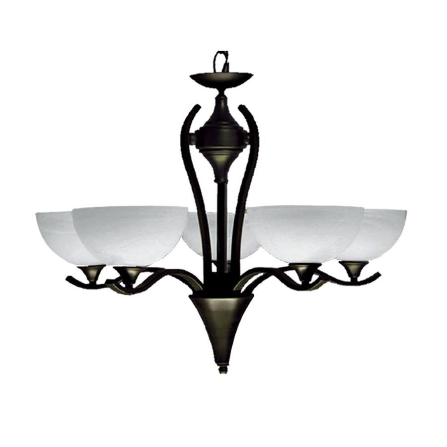 Khaleesi 28-in 5-Light English Bronze Alabaster Glass Candle Chandelier