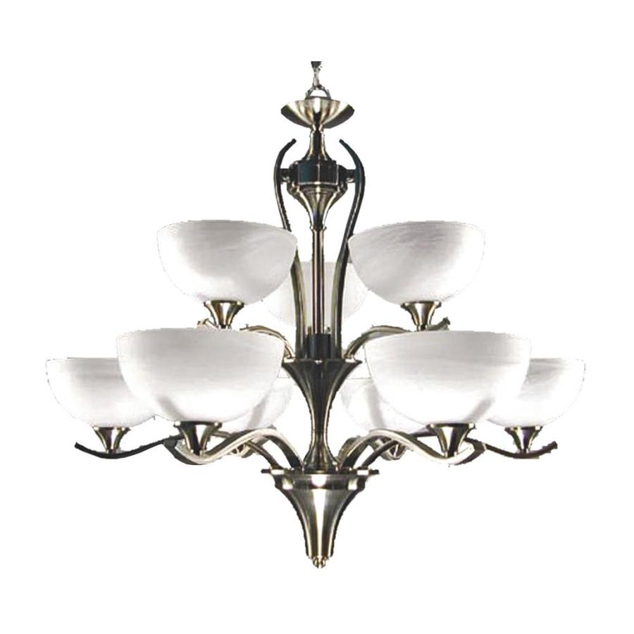 Khaleesi 34-in 9-Light Satin Chrome Alabaster Glass Candle Chandelier