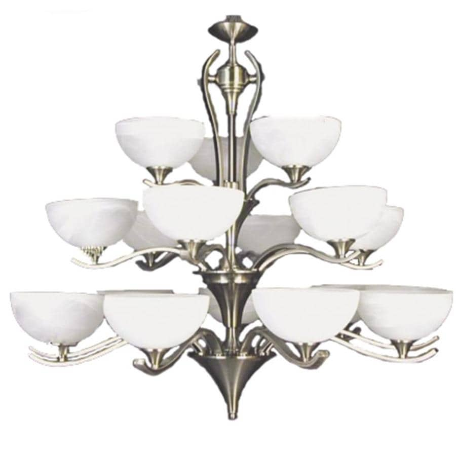 Khaleesi 41-in 18-Light Satin Chrome Alabaster Glass Candle Chandelier
