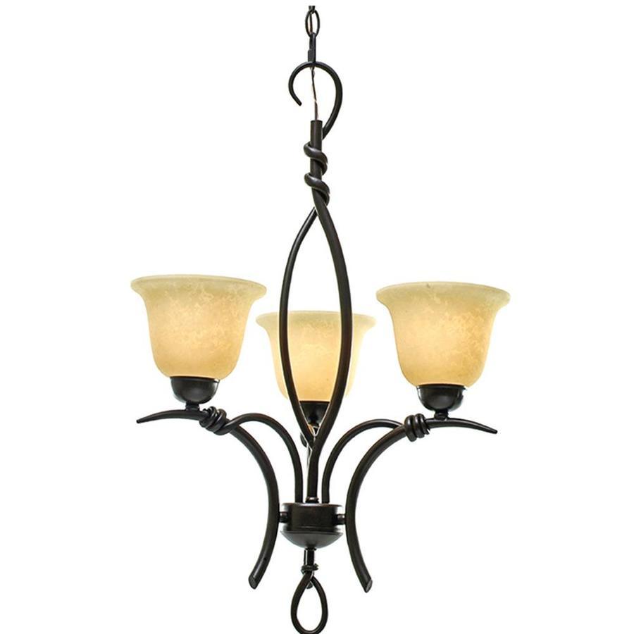 Khaleesi 29-in 3-Light Golden Bronze Scavo Glass Candle Chandelier