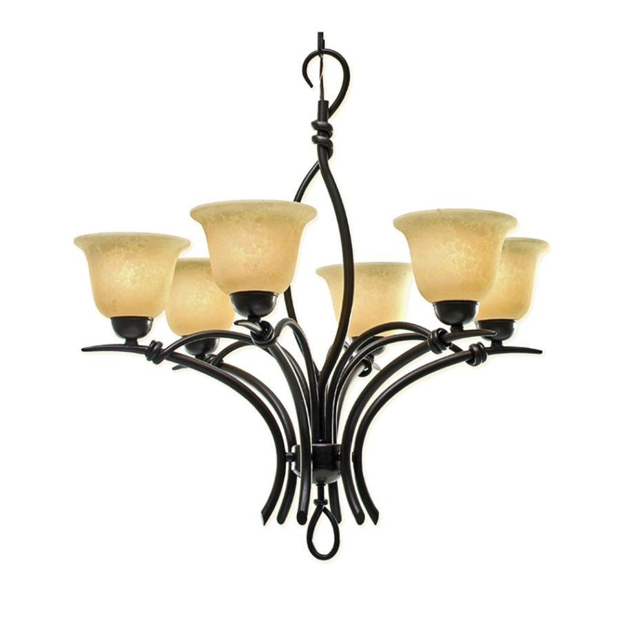 Khaleesi 29-in 6-Light Golden Bronze Scavo Glass Candle Chandelier