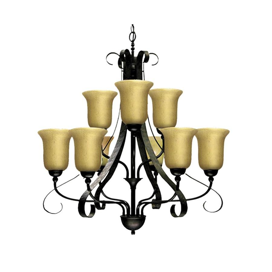Khaleesi 31-in 9-Light Old English Bronze Tinted Glass Candle Chandelier