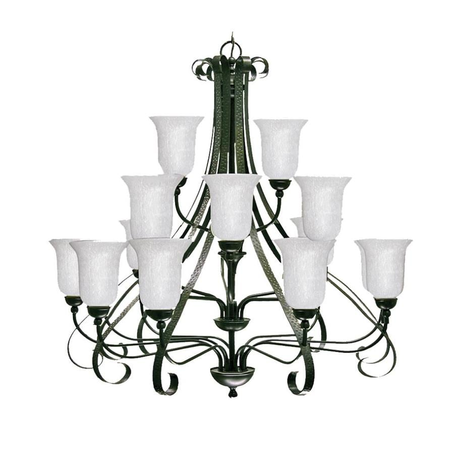 Khaleesi 43-in 18-Light Old English Bronze Candle Chandelier