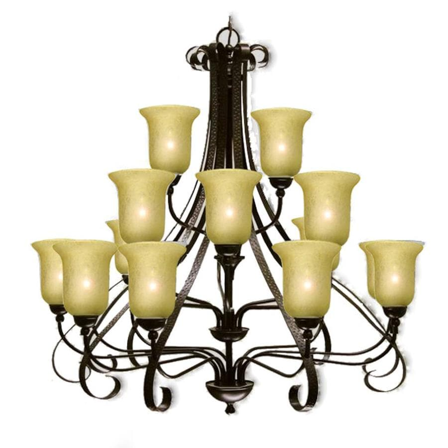 Khaleesi 43-in 18-Light Old English Bronze Tinted Glass Candle Chandelier
