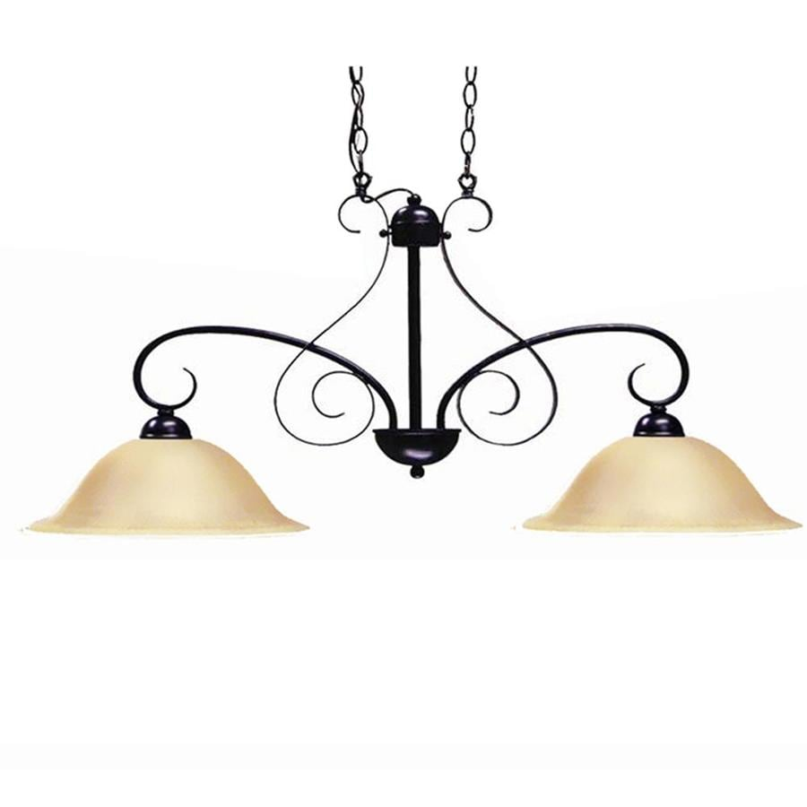 Khaleesi 6-in W 2-Light Old English Bronze Kitchen Island Light with Tinted Shade