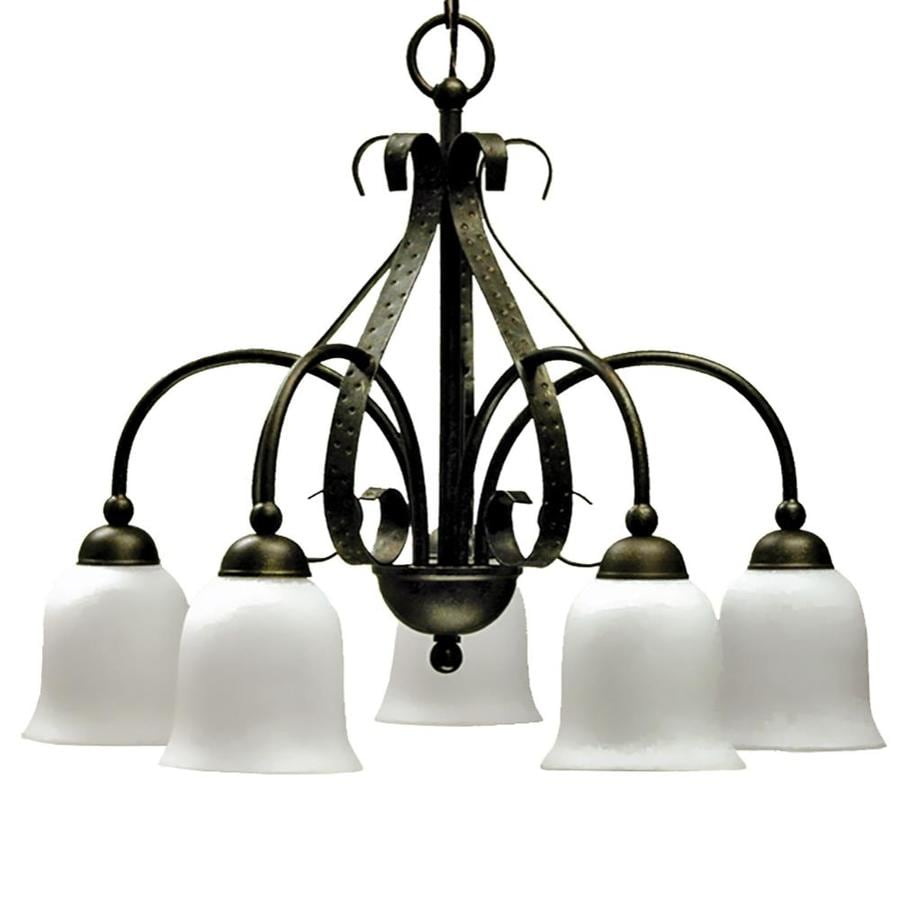 Khaleesi 24-in 5-Light Old English Bronze Candle Chandelier