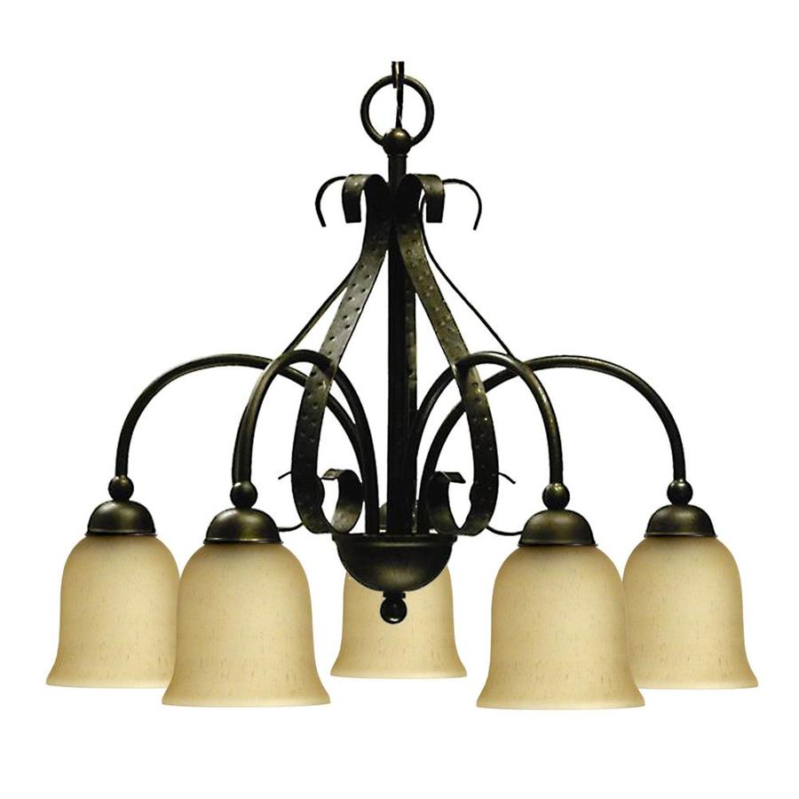 Khaleesi 24-in 5-Light Old English Bronze Tinted Glass Candle Chandelier