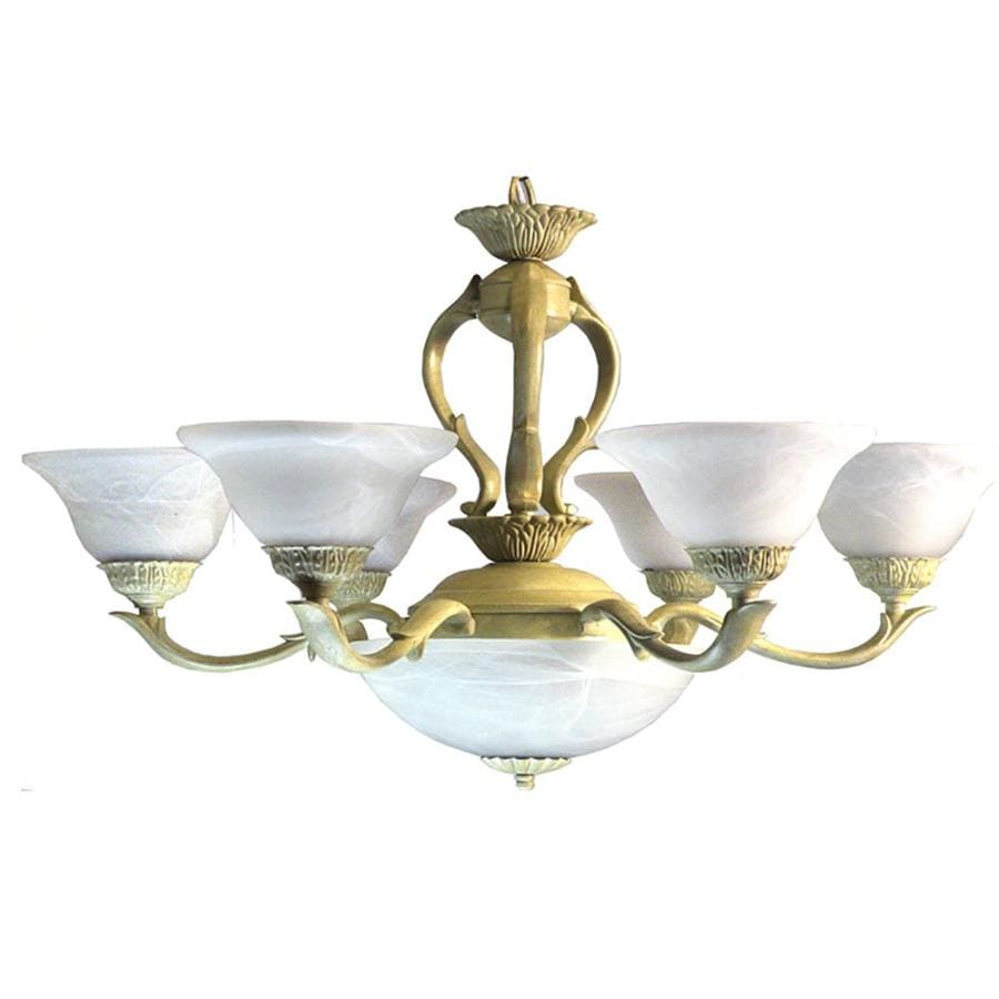 Khaleesi 30-in 8-Light Ivory Alabaster Glass Candle Chandelier