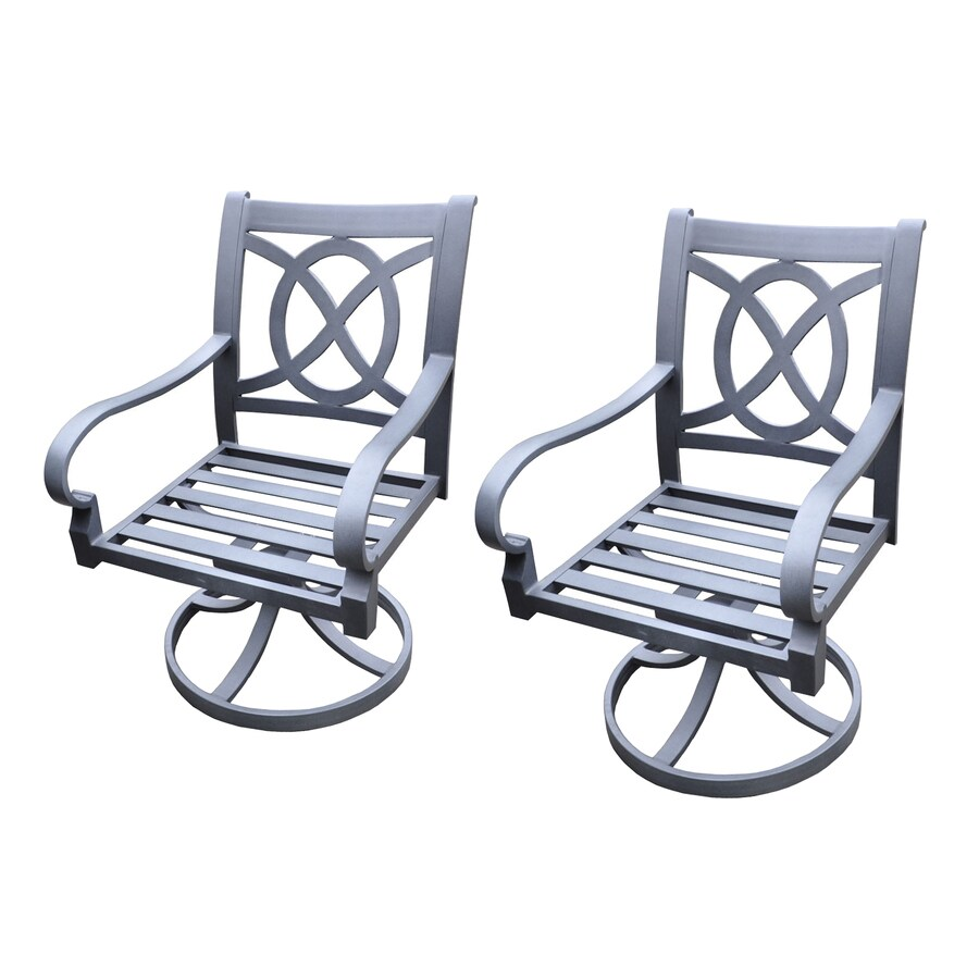 allen + roth Set Of 2 Newstead Gray Textured Slat Seat Aluminum Swivel Rocker Patio Dining Chairs