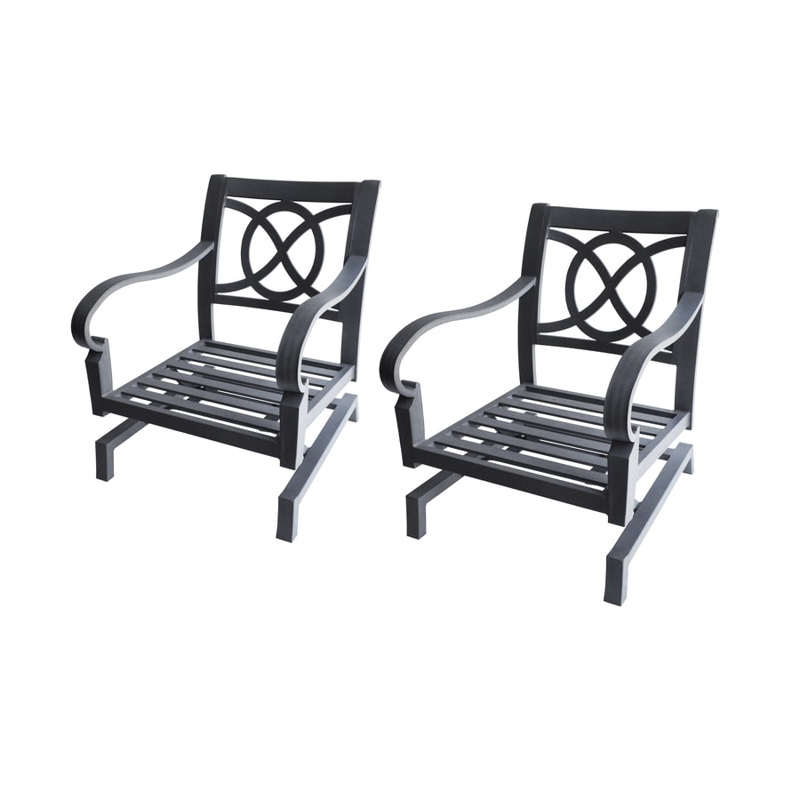 allen + roth Set Of 2 Newstead Gray Textured Aluminum Slat Patio Spring Motion Chairs