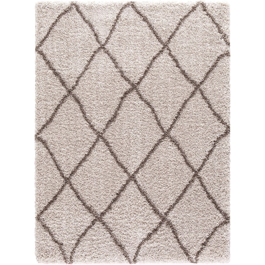 Concord Global Shagadelic Beige Rectangular Indoor Machine-Made Inspirational Area Rug (Common: 8 x 10; Actual: 7.83-ft W x 10.16-ft L)