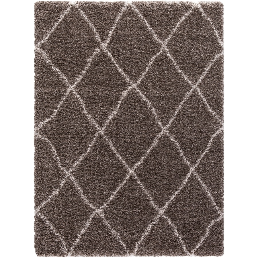 Concord Global Shagadelic Light Brown Rectangular Indoor Machine-Made Inspirational Area Rug (Common: 6 x 9; Actual: 6.58-ft W x 9.25-ft L)