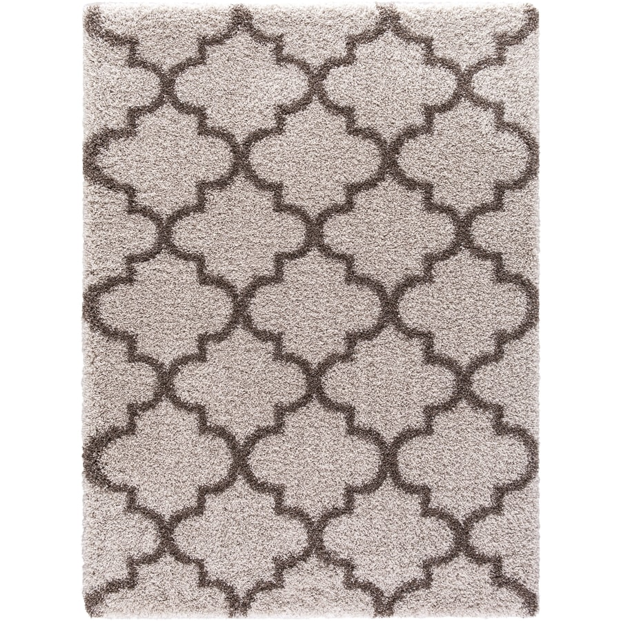 Concord Global Shagadelic Beige Rectangular Indoor Machine-Made Inspirational Area Rug (Common: 5 x 7; Actual: 5.25-ft W x 7.25-ft L)