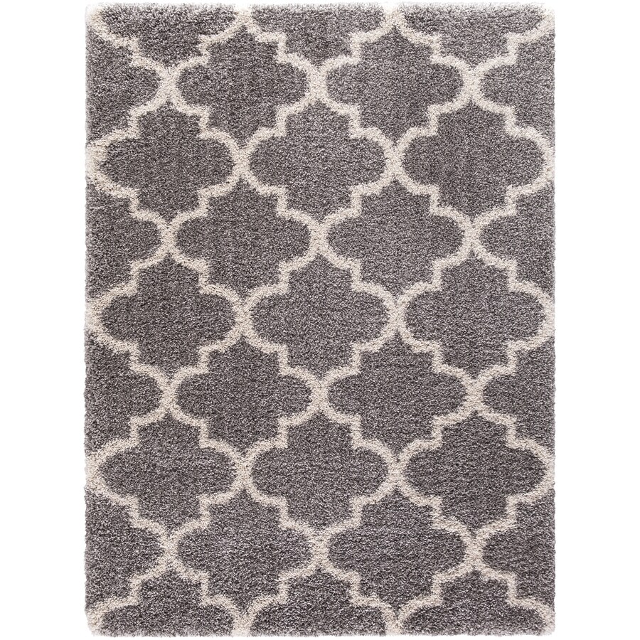 Concord Global Shagadelic Silver Rectangular Indoor Machine-made Inspirational Area Rug (Common: 8 x 10; Actual: 7.83-ft W x 10.16-ft L)