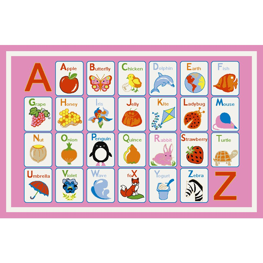 Concord Global Alphabet Dreams Pink Rectangular Indoor Machine-made Kids Throw Rug (Common: 3 x 5; Actual: 3.25-ft W x 4.58-ft L x 3.25-ft Dia)