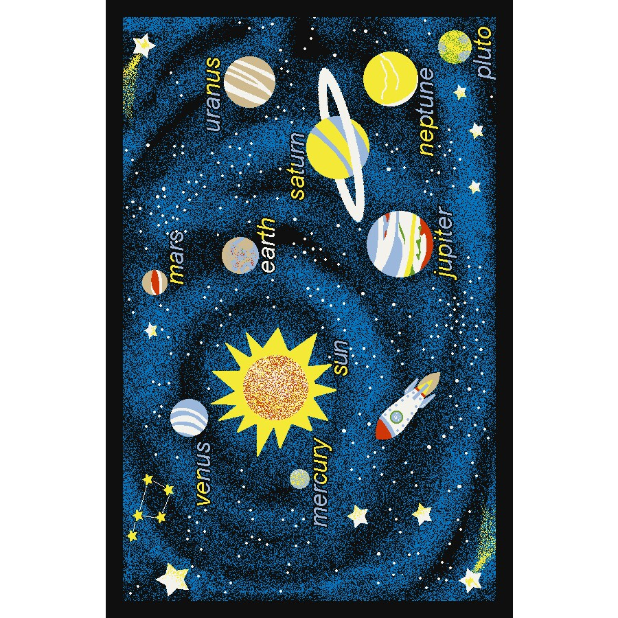 Concord Global Outer Space Black Rectangular Indoor Tufted Kids Area Rug (Common: 4 x 6; Actual: 53-in W x 73-in L x 4.42-ft Dia)