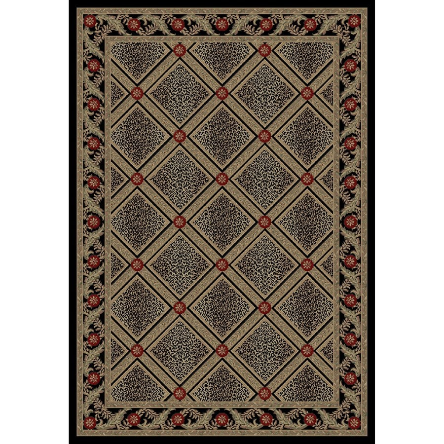 Concord Global Legend Black Rectangular Indoor Woven Animals Area Rug (Common: 9 x 12; Actual: 111-in W x 154-in L x 9.25-ft Dia)