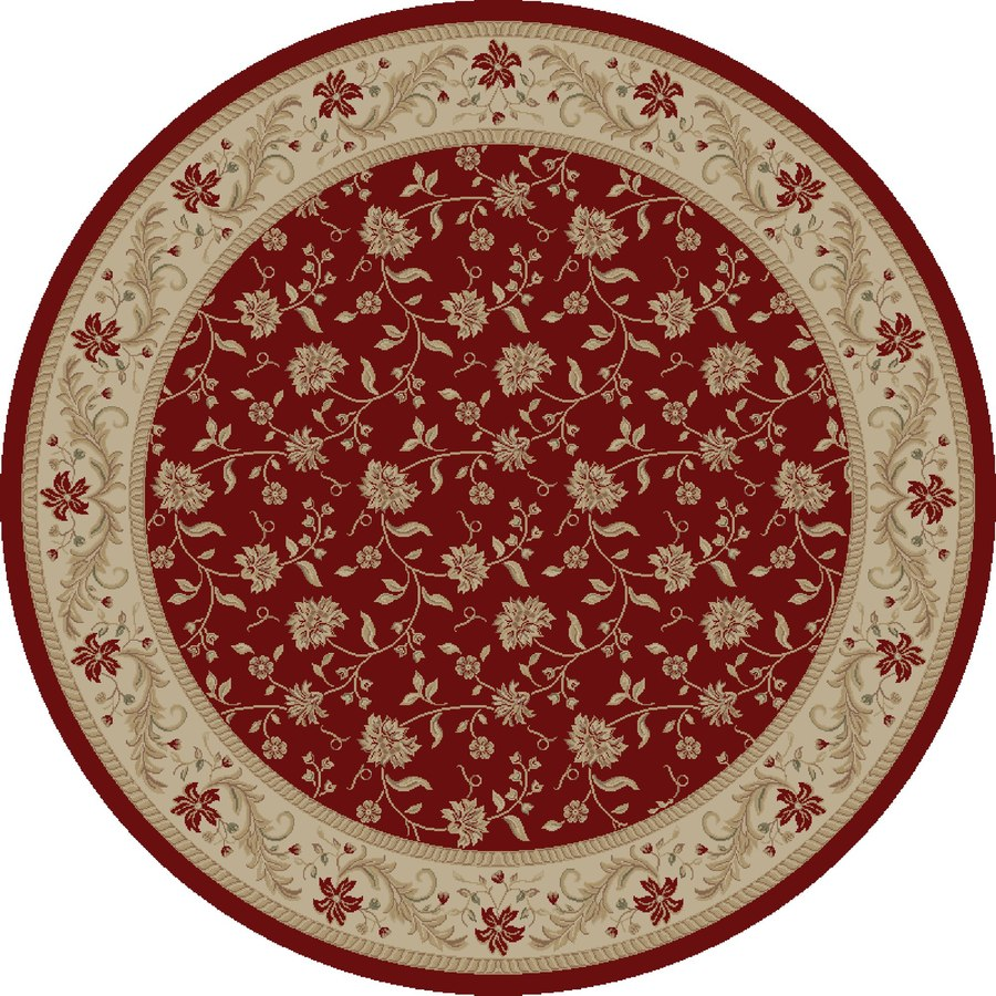 Concord Global Legend Red Round Indoor Woven Oriental Area Rug (Common: 5 x 5; Actual: 5.25-ft W x 5.25-ft L x 5.25-ft Dia)