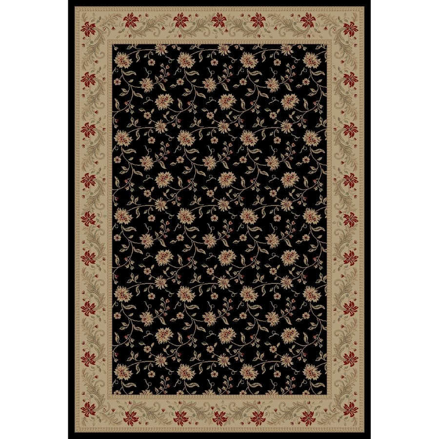 Concord Global Legend Black Rectangular Indoor Woven Oriental Area Rug (Common: 5 x 8; Actual: 5.25-ft W x 7.58-ft L x 5.25-ft Dia)