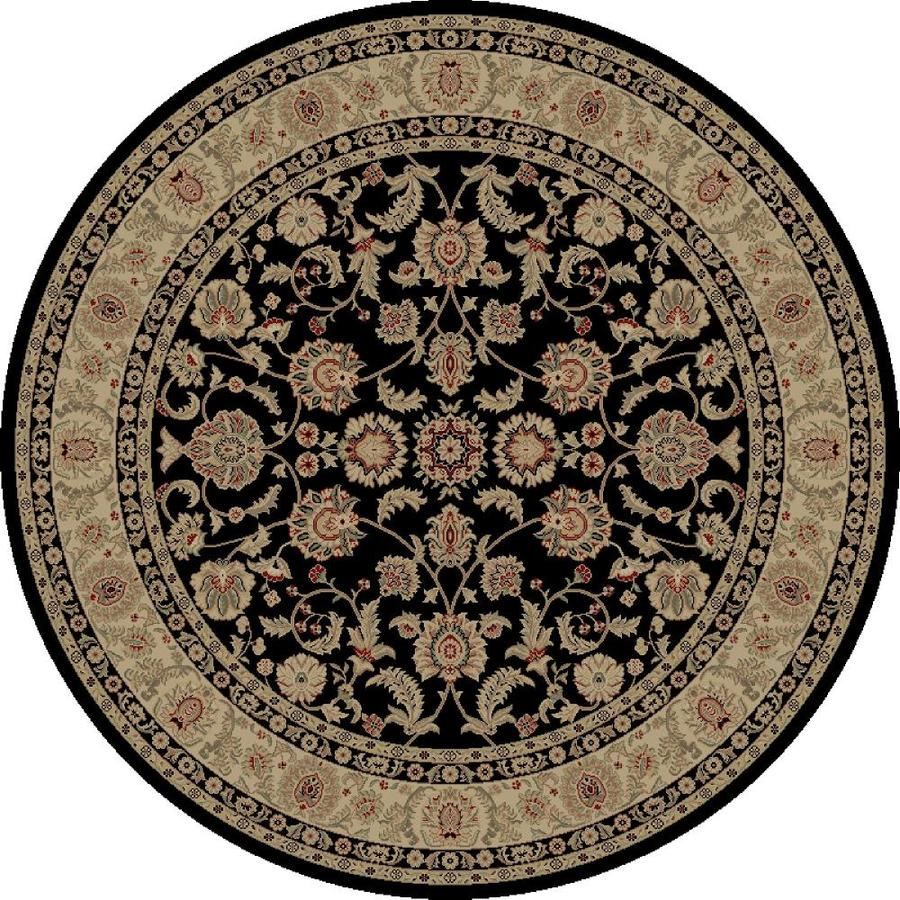 Concord Global Legend Black Round Indoor Woven Oriental Area Rug (Common: 5 x 5; Actual: 5.25-ft W x 5.25-ft L x 5.25-ft Dia)