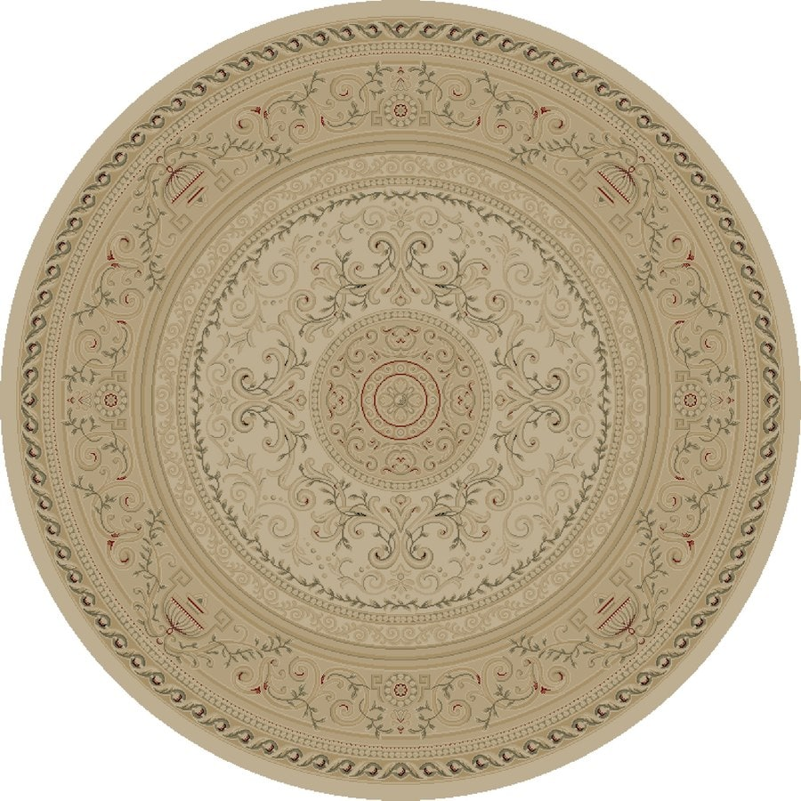 Concord Global Legend Ivory Round Indoor Woven Oriental Area Rug (Common: 5 x 5; Actual: 5.25-ft W x 5.25-ft L x 5.25-ft Dia)