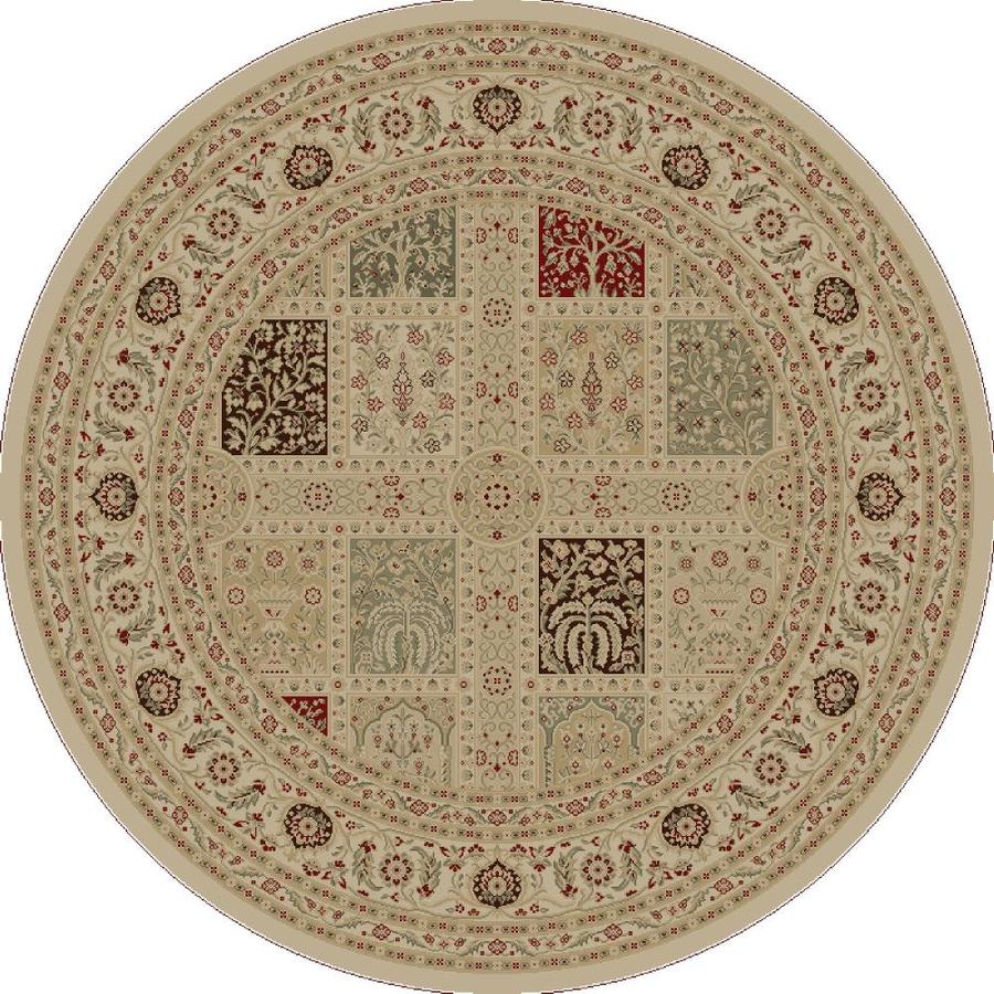 Concord Global Legend Ivory Round Indoor Oriental Area Rug (Common: 5 x 5; Actual: 5.25-ft W x 5.25-ft L x 5.25-ft dia)