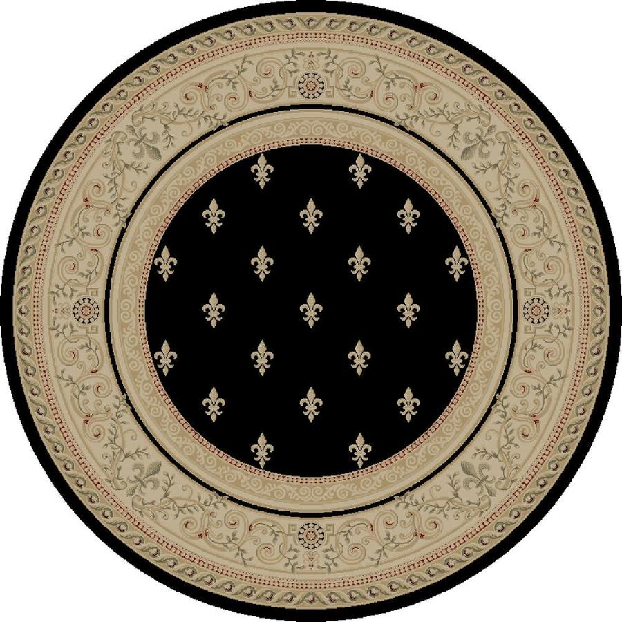 Concord Global Legend Black Round Indoor Woven Oriental Area Rug (Common: 5 x 5; Actual: 63-in W x 63-in L x 5.25-ft Dia)