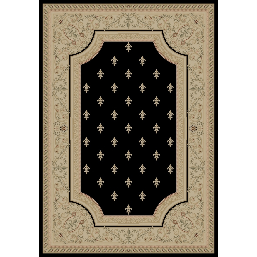 Concord Global Legend Black Rectangular Indoor Machine-Made Oriental Area Rug (Common: 4 x 6; Actual: 3.92-ft W x 5.58-ft L x 3.92-ft Dia)
