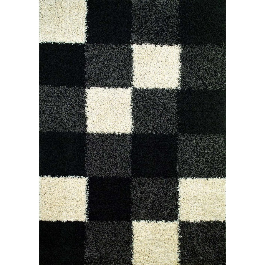 Concord Global Moderno Black Rectangular Indoor Woven Area Rug (Common: 7 x 9; Actual: 6.58-ft W x 9.25-ft L x 6.58-ft Dia)