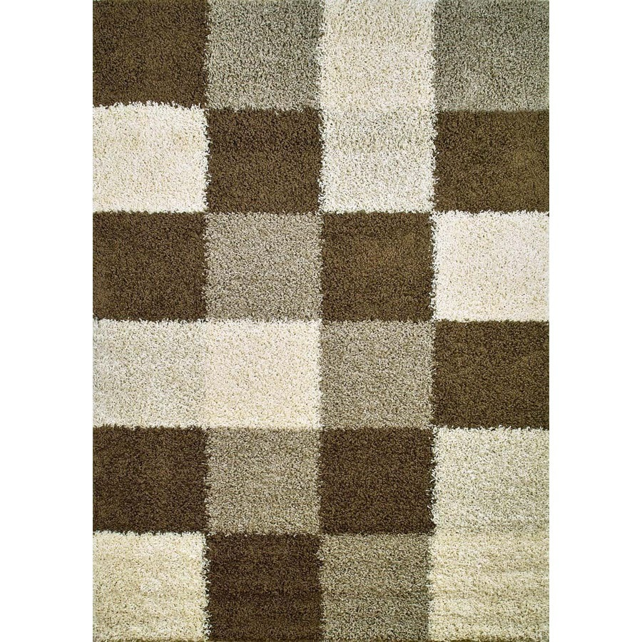Concord Global Moderno Brown Rectangular Indoor Woven Area Rug (Common: 7 x 9; Actual: 6.58-ft W x 9.25-ft L x 6.58-ft Dia)