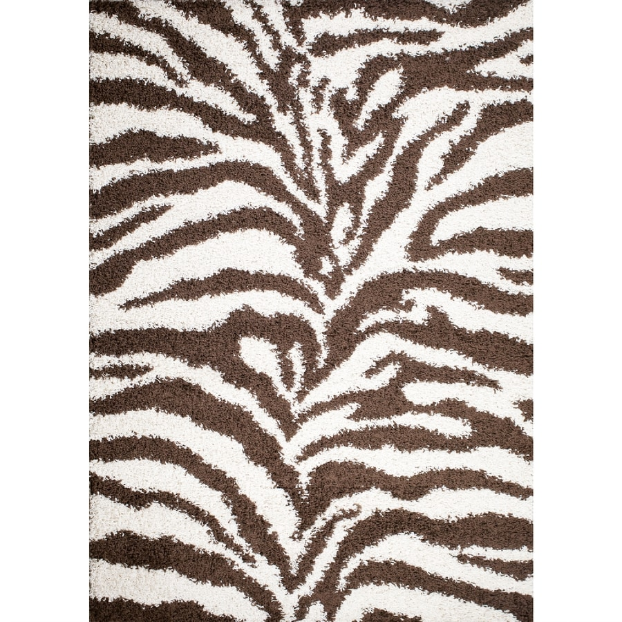 Concord Global Moderno Brown Rectangular Indoor Woven Animals Throw Rug (Common: 3 x 5; Actual: 39-in W x 55-in L x 3.25-ft Dia)