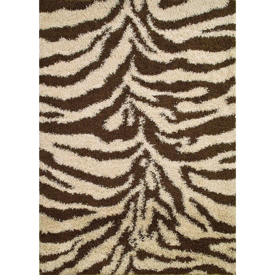 Concord Global Moderno Brown Rectangular Indoor Woven Animals Area Rug (Common: 5 x 7; Actual: 5-ft W x 7-ft L x 5-ft Dia)