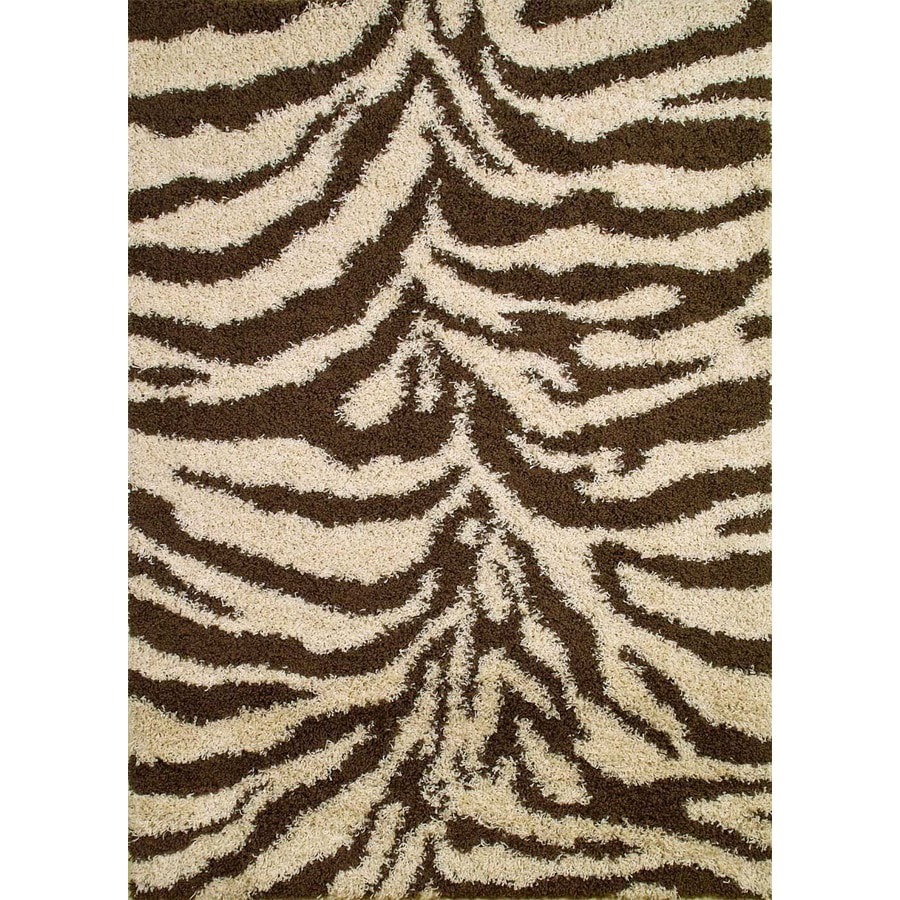 Concord Global Moderno Brown Rectangular Indoor Woven Animals Area Rug (Common: 7 x 9; Actual: 6.58-ft W x 9.25-ft L x 6.58-ft Dia)