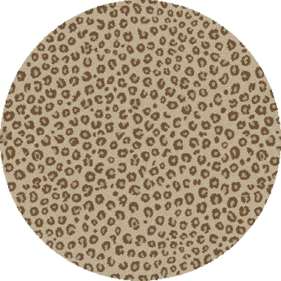 Concord Global Moderno Ivory Round Indoor Woven Animals Area Rug (Common: 7 x 7; Actual: 6.58-ft W x 6.58-ft L x 6.58-ft Dia)