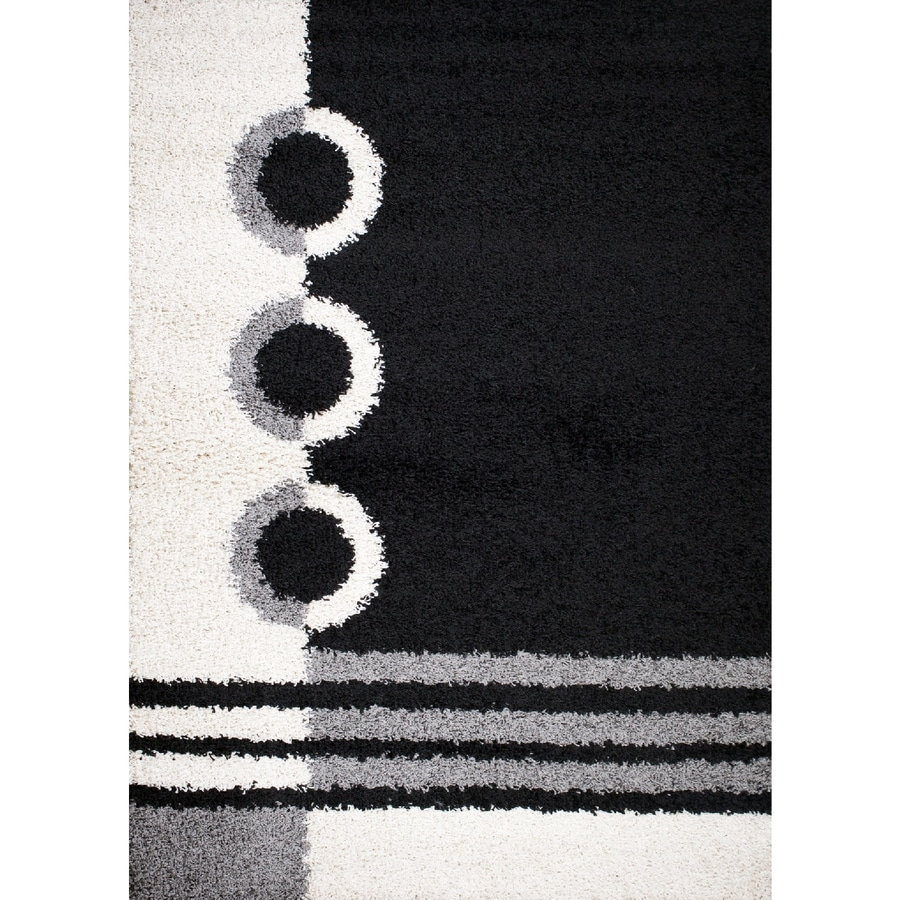 Concord Global Moderno Black Rectangular Indoor Woven Throw Rug (Common: 3 x 5; Actual: 3.25-ft W x 4.58-ft L x 3.25-ft Dia)