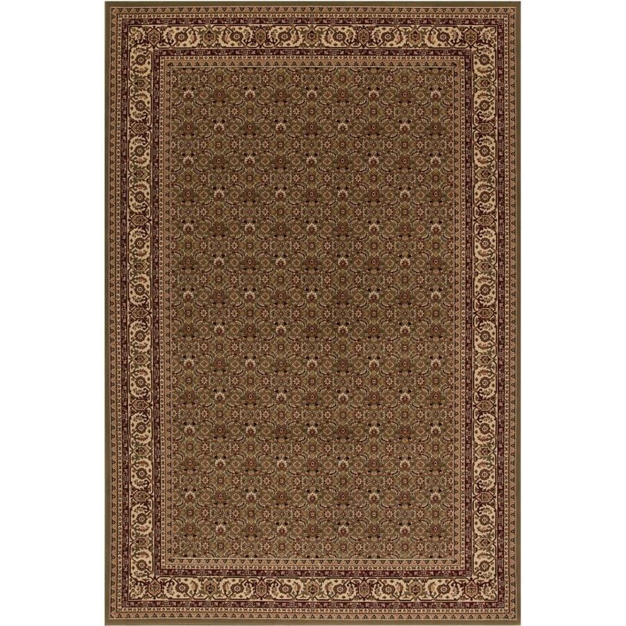 Concord Global Dynasty Green Rectangular Indoor Oriental Area Rug (Common: 4 x 6; Actual: 3.92-ft W x 5.58-ft L x 3.92-ft dia)