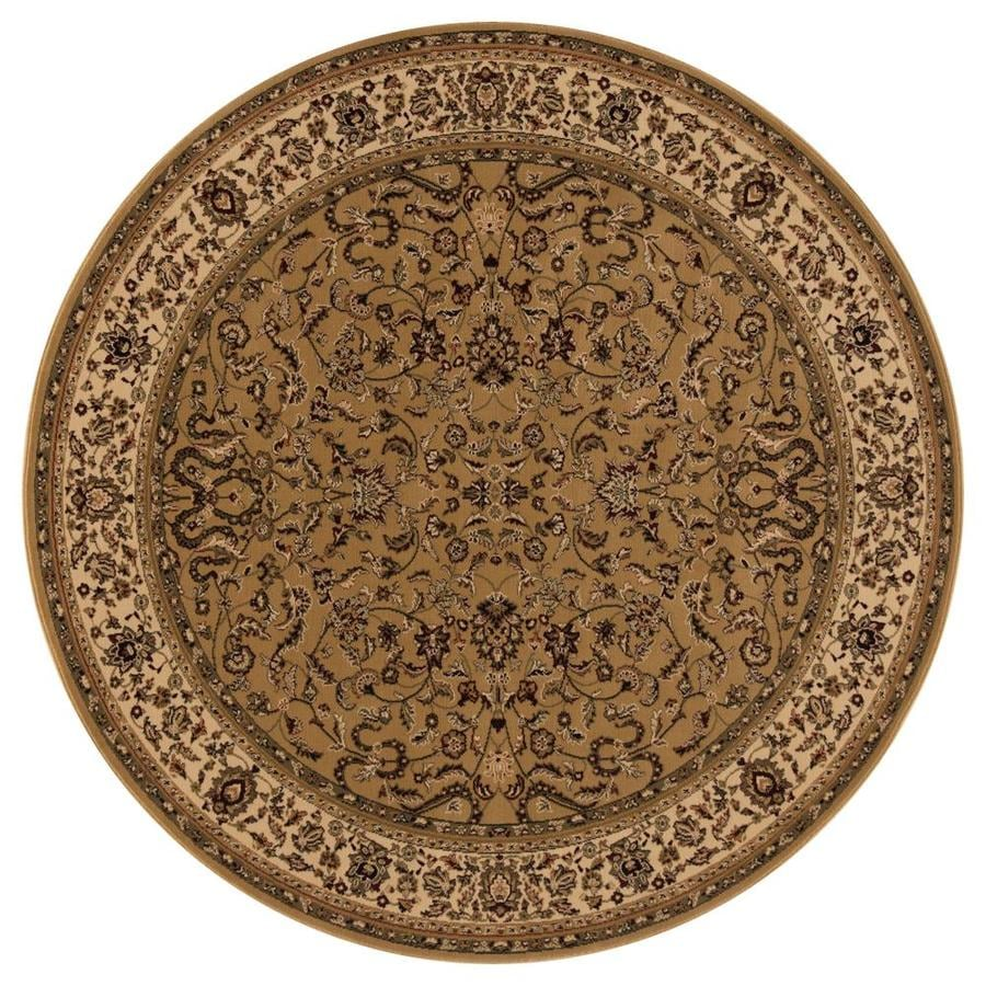 Concord Global Dynasty Gold Round Indoor Woven Oriental Area Rug (Common: 5 x 5; Actual: 5.25-ft W x 5.25-ft L x 5.25-ft Dia)