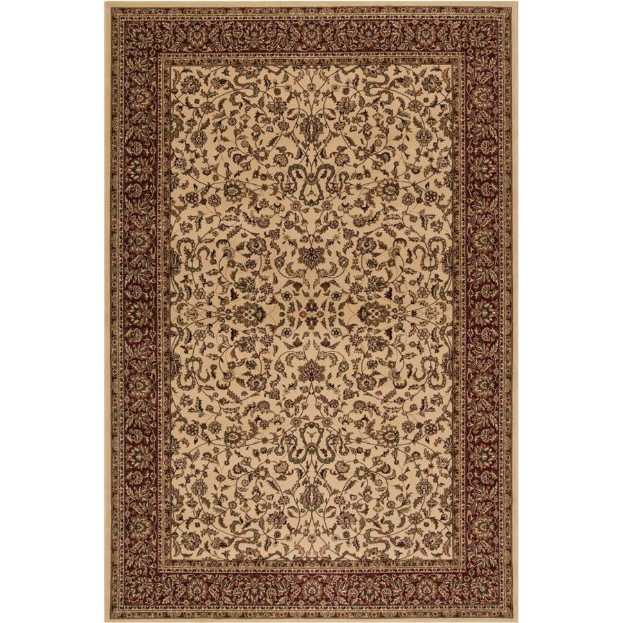 Concord Global Dynasty Ivory Rectangular Indoor Machine-Made Oriental Area Rug (Common: 4 x 6; Actual: 3.92-ft W x 5.58-ft L x 3.92-ft Dia)