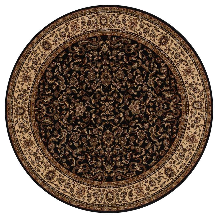 Concord Global Dynasty Black Round Indoor Woven Oriental Area Rug (Common: 8 x 8; Actual: 7.83-ft W x 7.83-ft L x 7.83-ft Dia)