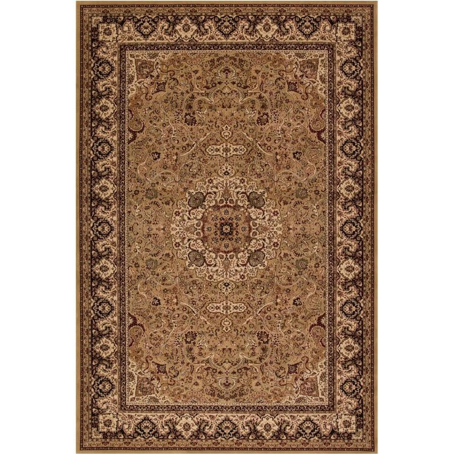 Concord Global Dynasty Gold Rectangular Indoor Woven Oriental Area Rug (Common: 4 x 6; Actual: 3.92-ft W x 5.58-ft L x 3.92-ft Dia)
