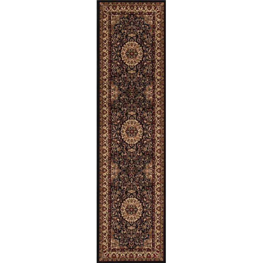 Concord Global Dynasty Black Indoor Oriental Runner (Common: 2 x 8; Actual: 2-ft W x 7.58-ft L x 2-ft dia)